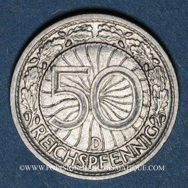 Monnaies Allemagne. République de Weimar. 50 reichspfennig 1928D