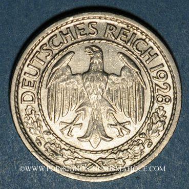 Monnaies Allemagne. République de Weimar. 50 reichspfennig 1928G