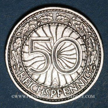 Monnaies Allemagne. République de Weimar. 50 reichspfennig 1929A