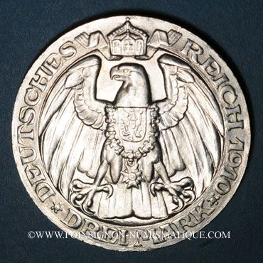 Monnaies Prusse. Guillaume II (1888-1918). 3 mark 1910A. Université de Berlin