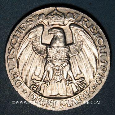 Monnaies Prusse. Guillaume II (1888-1918). 3 mark 1910A Université de Berlin