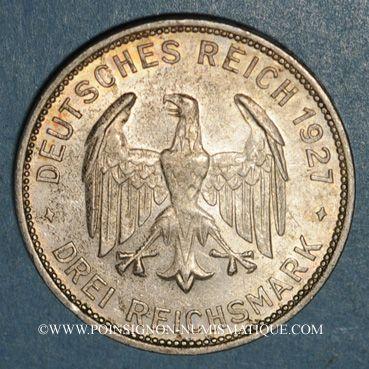 Monnaies République de Weimar. 3 reichsmark 1927 F. Tübingen