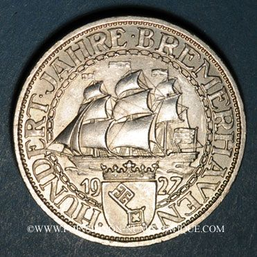 Monnaies République de Weimar. 3 reichsmark 1927A. Port de Brême