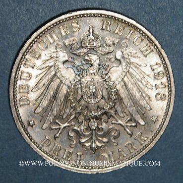 Monnaies Saxe. Frédéric Auguste III (1904-1918). 3 mark 1913E