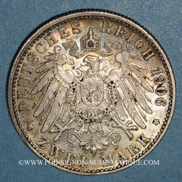 Monnaies Wurtemberg. Guillaume II (1891-1918). 2 mark 1906F