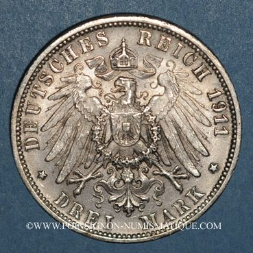 Monnaies Wurtemberg. Guillaume II (1891-1918). 3 mark 1911F. Noces d'argent