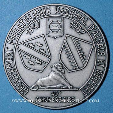 Monnaies Alsace 40e anniversaire du Groupement régional philatélique d'Alsace & Belfort 1987 médaille uniface