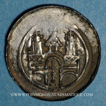 Monnaies Alsace. Abbaye de Seltz . Denier (vers 1180-90)