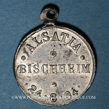 Monnaies Alsace. Bischheim. Alsatia Bischheim. 1894. Médaille plomb, avec œillet