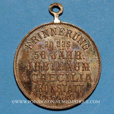 Monnaies Alsace. Brunstatt. 50e anniversaire de la chorale Caecilia. 1907. Médaille bronze doré. Avec œillet