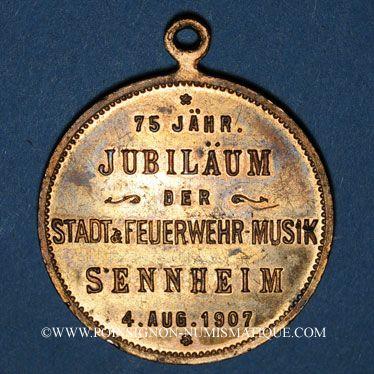 Monnaies Alsace. Cernay. 75e anniversaire orchestre municipal des pompiers. 1907. Médaille bronze doré