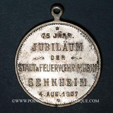 Monnaies Alsace. Cernay. 75e anniversaire orchestre municipal et des pompiers. 1907. Médaille bronze argenté