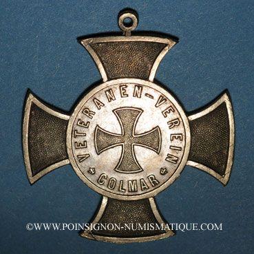 Monnaies Alsace. Colmar. Association des Vétérans de 1870. 1883. Croix en bronze, avec son anneau