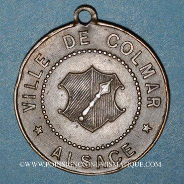 Monnaies Alsace. Colmar. Cavalcade de bienfaisance. 1882. Médaille laiton. 29,5 mm, avec œillet