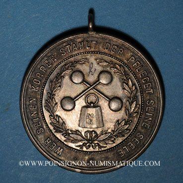 Monnaies Alsace. Colmar. Club athlétique de Colmar. 1897. 2e prix de soulever. Médaille argent. 39,67 mm