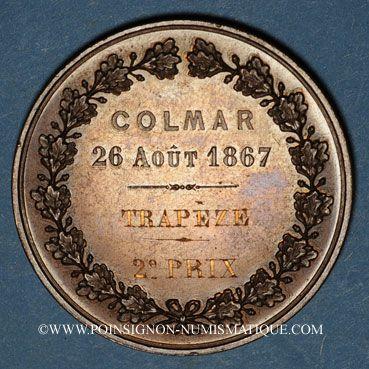 Monnaies Alsace. Colmar. Concours de gymnastique. 1867. Médaille en cuivre. 42,65 mm