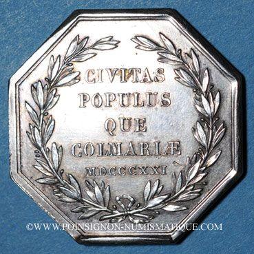 Monnaies Alsace. Colmar. Conseil Municipal de 1821. Jeton octogonal en argent. Gravé par Oblin F