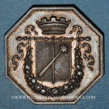 Monnaies Alsace. Colmar. Conseil Municipal de 1821. Jeton octogonal en argent. Sans signature