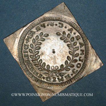 Monnaies Alsace. Colmar. Prix d'école. 1719. Argent, carrée, uniface. 34,29 x 33,15 mm