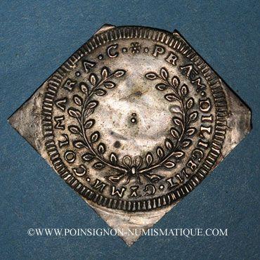 Monnaies Alsace. Colmar. Prix d'école. 1735. Argent, carrée, uniface. 43,64 x 43,18 mm
