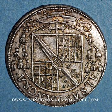 Monnaies Alsace. Evêché de Strasbourg. Charles de Lorraine (1592-1607). Teston n. d. Saverne. (S fin de lég.)