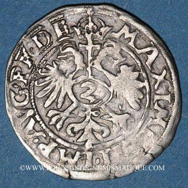 Monnaies Alsace. Evêché de Strasbourg. Jean de Manderscheid (1569-1592). 2 kreuzers 1575. Molsheim
