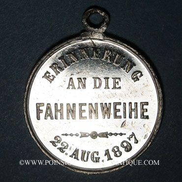 Monnaies Alsace. Flaxlanden. Consécration du drapeau de la société Concordia. 1897. Médaille plomb-étain