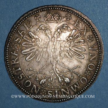 Monnaies Alsace. Mulhouse. Taler à l'écu 1623, tranche laurée. Refrappe du début du 18e siècle