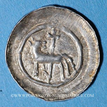 Monnaies Alsace. Strasbourg. Evêché. Epoque des Hohenstaufen (1138-1284). Denier vers 1230-50