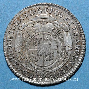 Monnaies Alsace. Strasbourg Evêché. Louis Constantin de Rohan-Guéménée (1756-79). 10 kreuzers 1773G Günzbourg