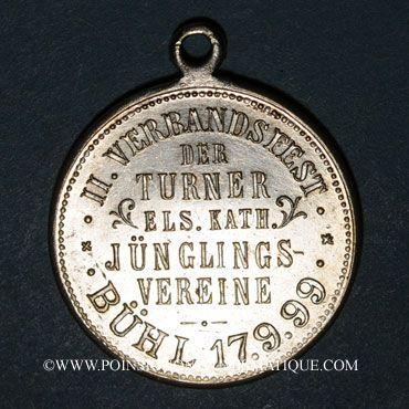 Monnaies Bühl. 2e tournoi de gymnastique des associations de la jeunesse catholique.1899. Médaille laiton arg