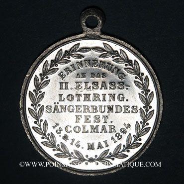 Monnaies Colmar. 2e congrès des chorales d'Alsace-Lorraine. 1894. Médaille aluminium