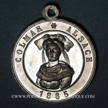 Monnaies Colmar. Cavalcade au profit des pauvres. 1885. Etain. 30 mm, avec œillet