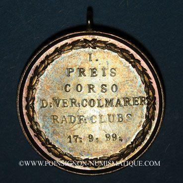 Monnaies Colmar. Corso - Compétition cycliste des clubs vélocipédiques colmariens. 1899. 1er prix.