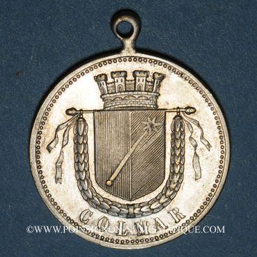 Monnaies Colmar. Cortège historique. 1889. Médaille laiton argenté. 29,3 mm