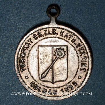 Monnaies Colmar. Tournoi de gymnastique des cercles catholiques de Haute Alsace 1898. Médaille laiton argenté