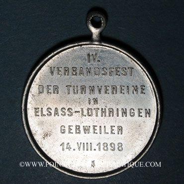 Monnaies Guebwiller. 4e tournoi de gymnastique des associations d'Alsace et de Lorraine 1898. Médaille alu.