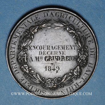 Monnaies Ht-Rhin. Société départementale d'agriculture du Haut-Rhin – Prix d'encouragement. 1849. Médaille br