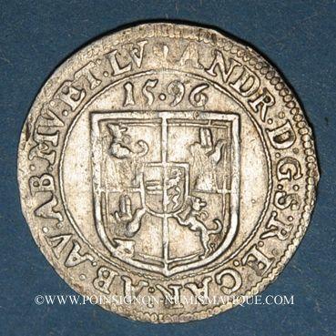 Monnaies Murbach et Lure. André d'Autriche (1587-1600). 3 kreuzers 1596. Guebwiller.