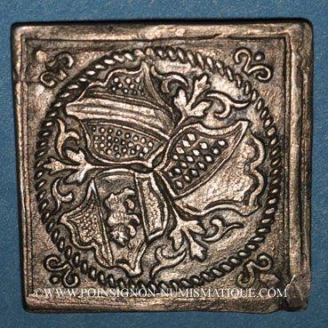 Monnaies Strasbourg. Alliance avec Zurich et Berne, 1588. Klippe argent. 23,50 x 23,70 mm.