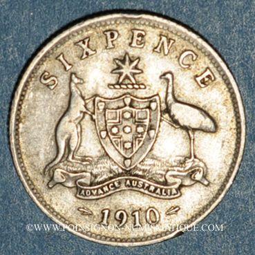 Monnaies Australie. Georges V (1910-1936). 6 pences 1910