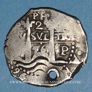 Monnaies Bolivie. Philippe IV (1621-1665). 2 reales 1656PE-PH. Potosi