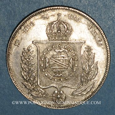 Monnaies Brésil. Pierre II (1831-1889). 1000 reis 1860