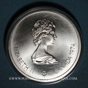 Monnaies Canada. Elisabeth II (1952- /). 10 dollars 1974. J.O. Montréal. Temple de Zeus