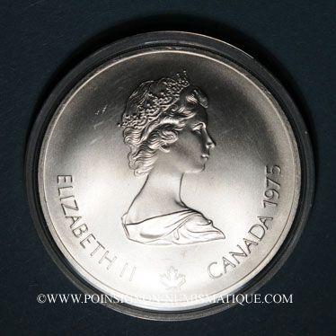 Monnaies Canada. Elisabeth II (1952- /). 10 dollars 1975. J.O. Montréal. Canoë
