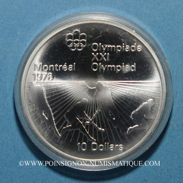 Monnaies Canada. Elisabeth II (1952- /). 10 dollars 1976. J.O. Montréal. Hockey sur gazon
