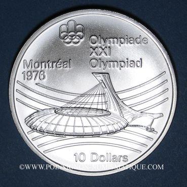 Monnaies Canada. Elisabeth II (1952- /). 10 dollars 1976. J.O. Montréal. Le stade olympique