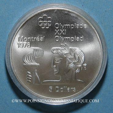 Monnaies Canada. Elisabeth II (1952- /). 5 dollars 1974. J.O. Montréal. Porteur de flamme
