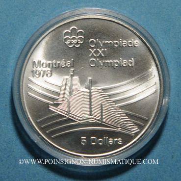 Monnaies Canada. Elisabeth II (1952- /). 5 dollars 1976. J.O. Montréal. Village olympique