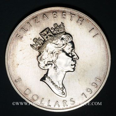 Monnaies Canada. Elisabeth II (1952- /). 5 dollars 1991